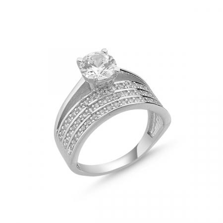 Inel argint Eternity & Solitaire cu zirconii, placat cu rodiu