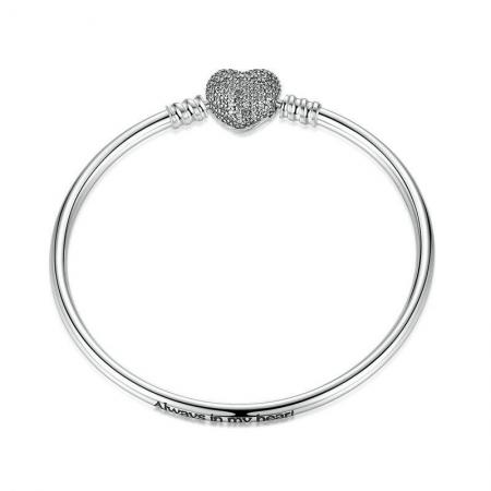 Bratara argint 925 cu inimioara Allways in my heart si zirconii albe - Be Elegant BST00150