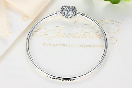 Bratara argint 925 cu inimioara Allways in my heart si zirconii albe - Be Elegant BST00152
