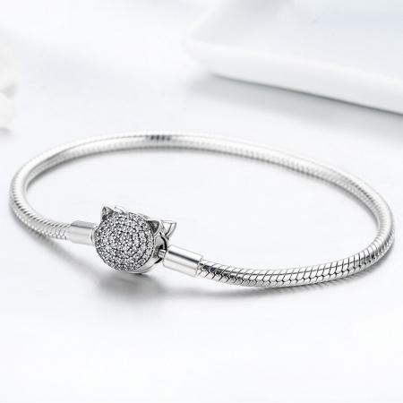 Bratara argint 925 cu cap de pisicuta si zirconii albe - Be Nature  BST00283