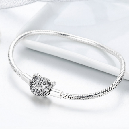Bratara argint 925 cu cap de pisicuta si zirconii albe - Be Nature  BST00284