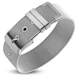 Bratara inox 18 mm latime model plasa - Shinny Mesh Bracelet0