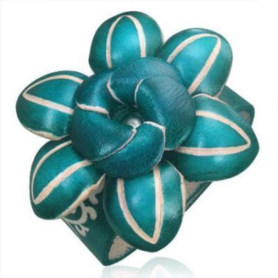 Bratara albastra din piele cu floare model 3D0
