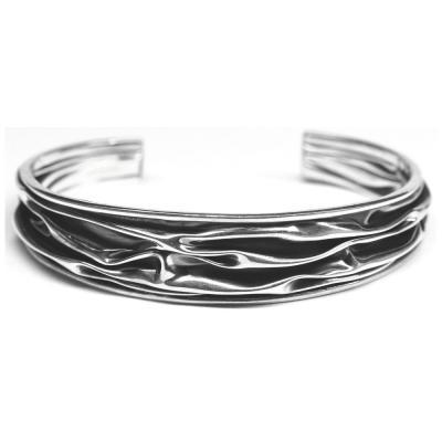 Bratara argint 925 eleganta cu valuri si aspect vintage0
