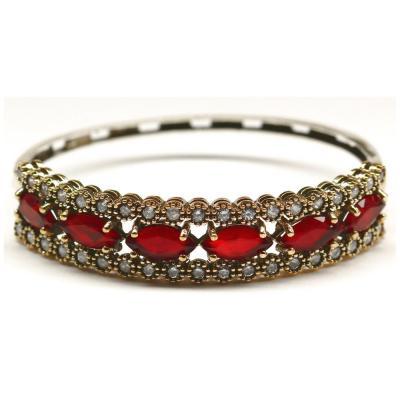Bratara argint 925 eleganta cu zirconii rosii1