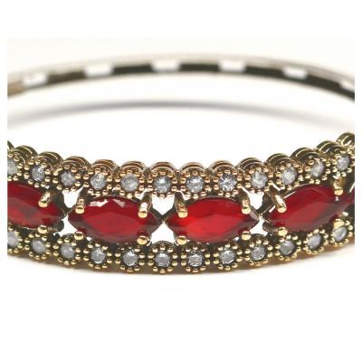 Bratara argint 925 eleganta cu zirconii rosii2