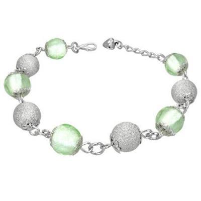 Bratara cu margele verzi si argintii