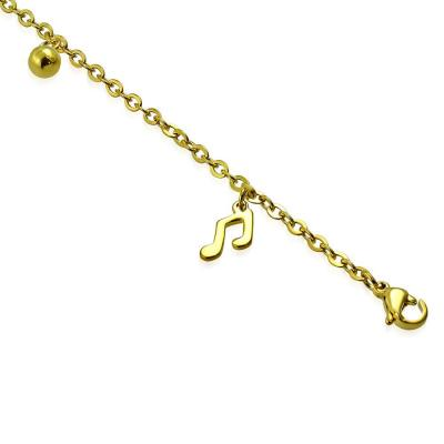 Bratara din otel inox auriu cu note muzicale1