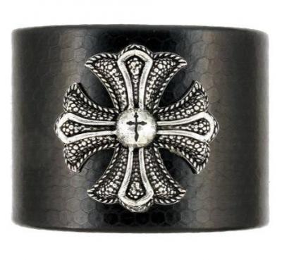 Bratara din piele cu cruce malteza din argint1