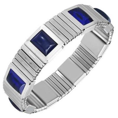 Bratara elastica din inox cu pietre albastre