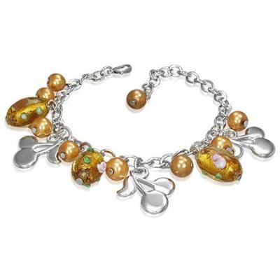 Bratara fantezie cu cirese si perle galbene