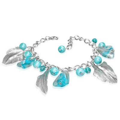 Bratara cu frunze argintii si margele bleu