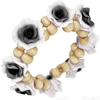 Bratara fantezie cu trandafiri alb cu negru