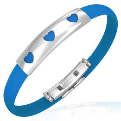 Bratara inox cu cauciuc albastru si 3 inimioare