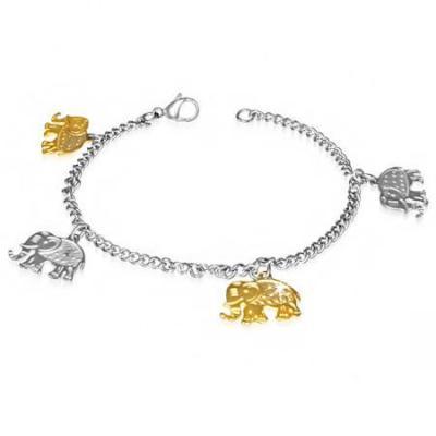 Bratara inox de mana sau glezna cu patru elefanti