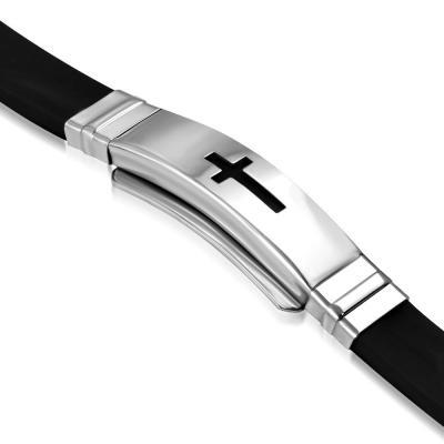 Bratara inox si cauciuc negru cu cruce latina BSL30781