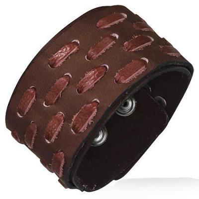 Bratara lata din piele maro