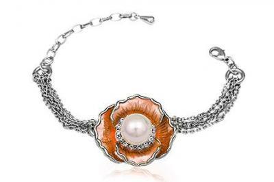Bratara metal rodiat cu floare perla si cristale