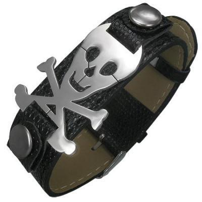 Bratara otel cu craniu de pirati cu oase (skull)