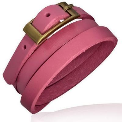Bratara piele naturala roz cu catarama aramie