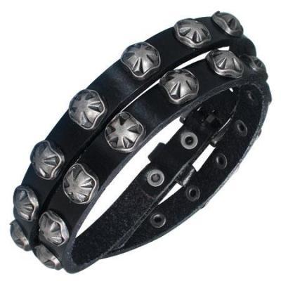 Bratara piele neagra cu accesorii metalice0