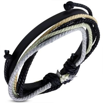 Bratara piele neagra cu snururi multicolore