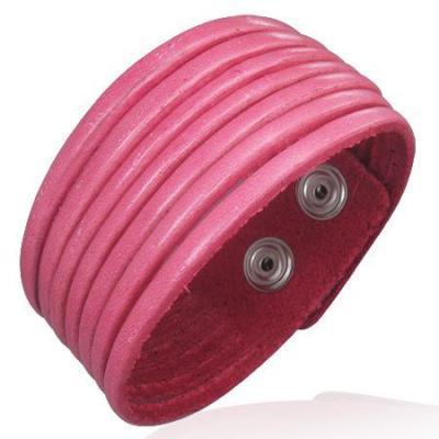 Bratara lata piele roz reglabila0