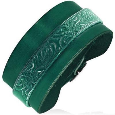 Bratara piele verde cu catarama0