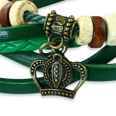 Bratara piele verde cu coroana1