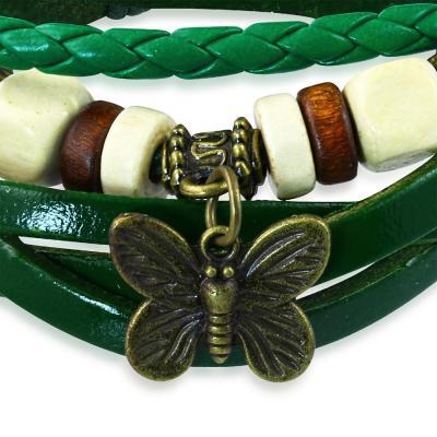 Bratara piele verde cu fluturas1