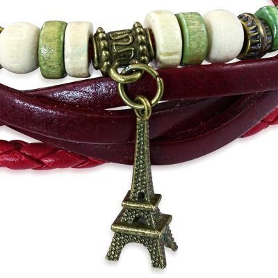 Bratara piele visinie cu Turnul Eiffel1