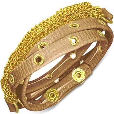 Bratra piele maro cu accesorii aurii