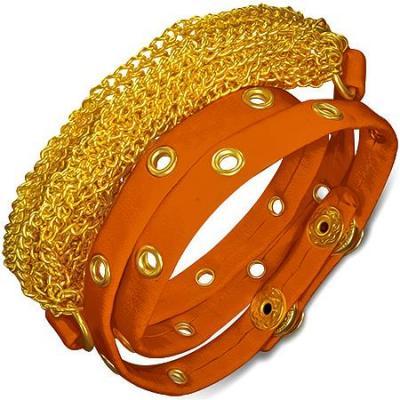Bratra piele portocalie cu accesorii aurii