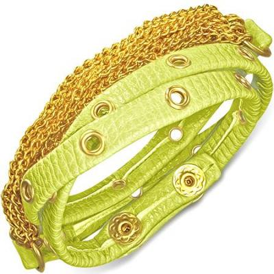 Bratra piele verde cu accesorii aurii