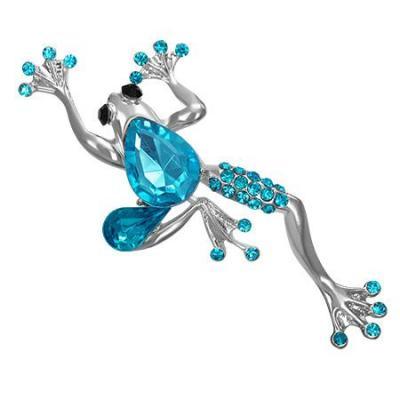 Brosa in forma de broscuta cu pietre bleu