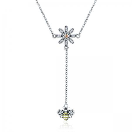 Colier argint 925 cu floare si albinuta - Be Nature CST0011