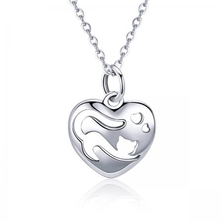 Colier argint 925 cu inimioara si pisicuta - Be Nature CST0015