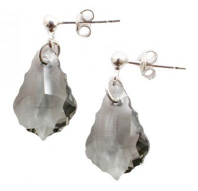 Cercei argint 925 cu swarovski elements culoare Black Diamond