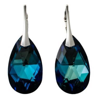 Cercei argint 925 cu swarovski elements culoare Bermuda blue 22 mm