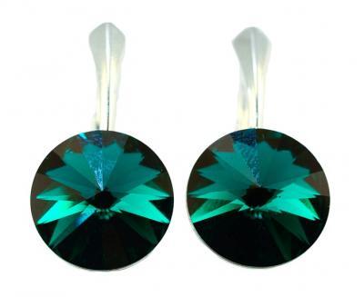Cercei argint 925 cu swarovski elements 12 mm culoare Emerald