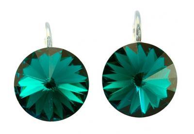 Cercei argint 925 cu swarovski elements 14 mm Emerald