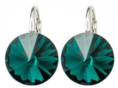 Cercei argint 925 cu swarovski elements 10 mm Emerald