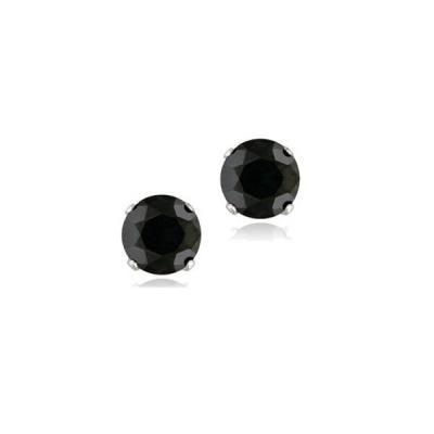 Cercei argint 925 cu zirconii rotunde negre de 6 mm CER01991