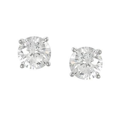 Cercei argint 925 cu zirconii albe rotunde 8 mm CER01971