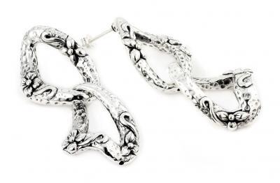 Cercei argint 925 vintage inscriptionati cu floricele0