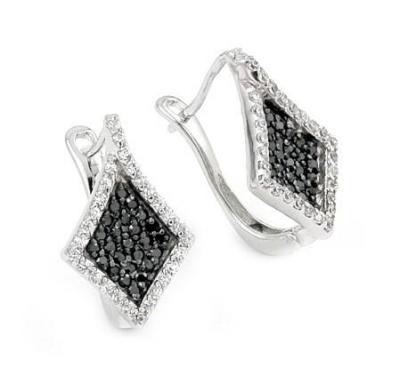 Cercei eleganti din argint 925 cu zirconii albe si negre0
