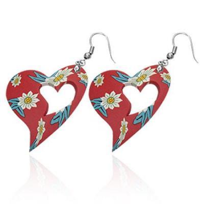 Cercei fantezie cu inimioare rosii decorate cu floricele
