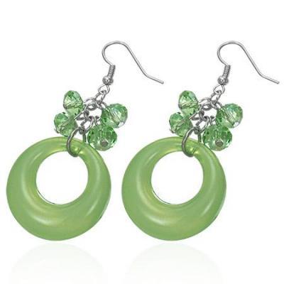 Cercei fantezie cu margele verzi
