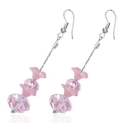 Cercei fantezie lungi cu floricele roz