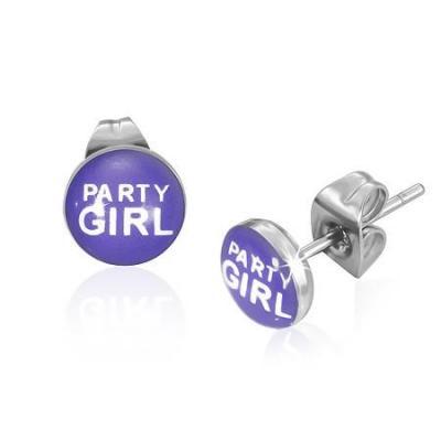 Cercei otel inox cu mesajul Party Girl